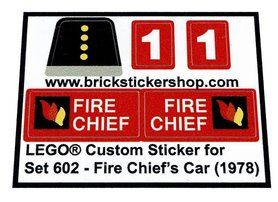 Precut Custom Replacement Stickers for Lego Set 602 - Fire Chief's Car (1978)