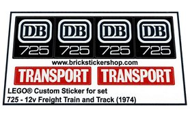 Precut Custom Replacement Stickers for Lego Set 725 - 12V Freight Train and Track (1974)
