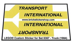 Precut Custom Replacement Stickers for Lego Set 6367 - Truck (1984)
