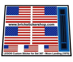 Precut Custom Replacement Stickers for Lego Set 367 - Moon Landing (1975)