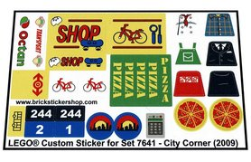 Precut Custom Replacement Stickers for Lego Set 7641 - City Corner (2009)