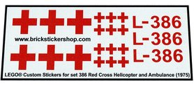 Precut Custom Replacement Stickers voor Lego Set 386 - Red Cross Helicopter and Ambulance (1975)