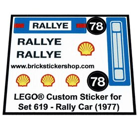 Precut Custom Replacement Stickers for Lego Set 619 - Rally Car (1977)