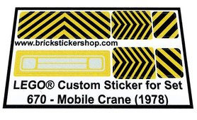 Precut Custom Replacement Stickers for Lego Set 670 - Mobile Crane (1978)
