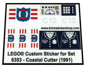 Precut Custom Replacement Stickers for Lego Set 6353 - Coastal Cutter (1991)