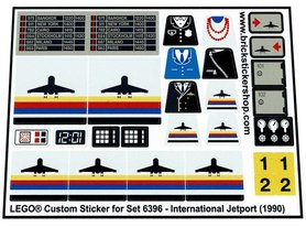 Precut Custom Replacement Stickers for Lego Set 6396 - International Jetport (1990)