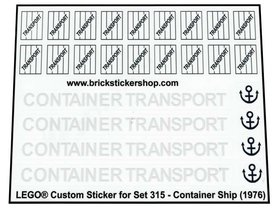 Precut Custom Replacement Stickers for Lego Set 315 - Container Ship (1976)