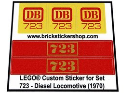 Precut Custom Replacement Stickers for Lego Set 723 - Diesel Locomotive (1970)