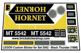 Precut Custom Replacement Stickers for Lego Set 5542 - Black Thunder (1998)
