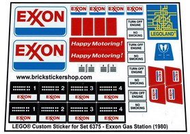 Precut Custom Replacement Stickers for Lego Set 6375 - Exxon Gas Station (1980)