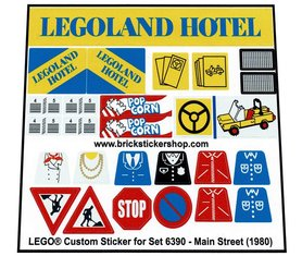 Precut Custom Replacement Stickers for Lego Set 6390 - Main Street (1980)