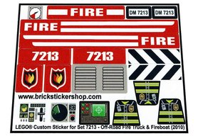 Precut Custom Replacement Stickers for Lego Set 7213 - Off-Road Fire Truck & Fireboat (2010)