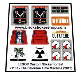 Precut Custom Replacement Stickers for Lego Set 21103 - The Delorean Time Machine (2013)