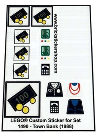Precut Custom Replacement Stickers for Lego Set 1490 - Town Bank (1988)