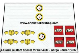Precut Custom Replacement Stickers for Lego Set 4030 - Cargo Carrier (1987)