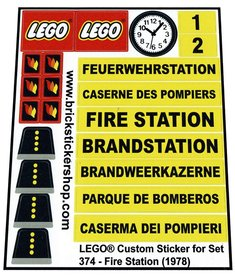 Precut Custom Replacement Stickers for Lego Set 374 - Fire Station (1978)