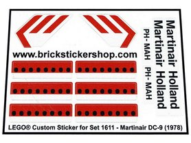 Precut Custom Replacement Stickers voor Lego Set 1611 - Martinair DC-9 (1978)