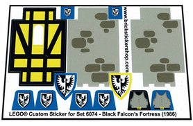 Precut Custom Replacement Stickers for Lego Set 6074 - Black Falcon's Fortress (1986)
