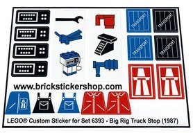 Precut Custom Replacement Stickers for Lego Set 6393 - Big Rig Truck Stop (1987)