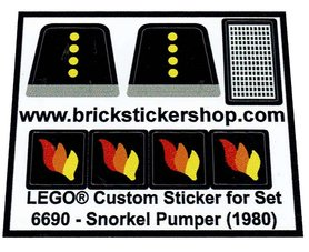 Precut Custom Replacement Stickers for Lego Set 6690 - Snorkel Pumper (1980)