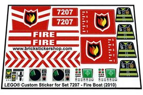 Precut Custom Replacement Stickers for Lego Set 7207 - Fire Boat (2010)