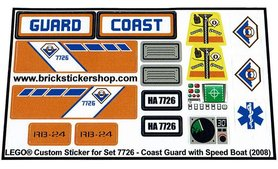 Precut Custom Replacement Stickers for Lego Set 7726 - Coast Guard Truck with Speed Boat (2008)