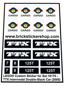 Precut Custom Replacement Stickers for Lego Set 10170 - TTX Intermodal Double-Stack Car (2005)