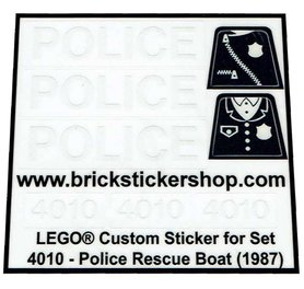 Precut Custom Replacement Stickers for Lego Set 4010 - Police Rescue Boat (1987)