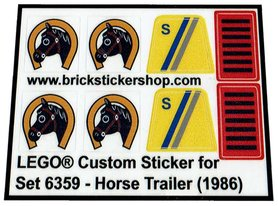 Precut Custom Replacement Stickers for Lego Set 6359 - Horse Trailer (1986)