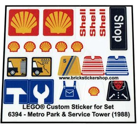 Precut Custom Replacement Stickers for Lego Set 6394 - Metro Park & Service Tower (1988)