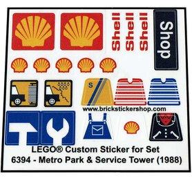 Precut Custom Replacement Stickers voor Lego Set 6394 - Metro Park & Service Tower (1988)