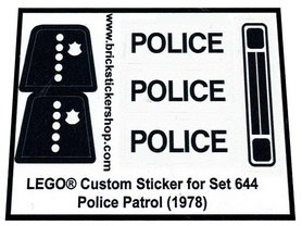 Precut Custom Replacement Stickers for Lego Set 644 - Police Patrol (1978)