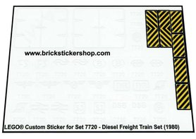 Precut Custom Replacement Stickers for Lego Set 7720 - Diesel Freight Train Set (1980)