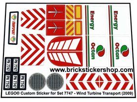 Precut Custom Replacement Stickers for Lego Set 7747 - Wind Turbine Transport (2009)