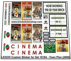Precut Custom Replacement Stickers for Lego Set 10184 - Town Plan (2008)