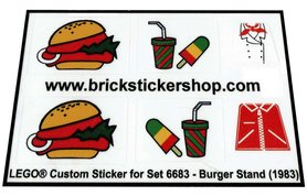 Precut Custom Replacement Stickers for Lego Set 6683 - Burger Stand (1983)
