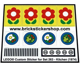 Precut Custom Replacement Stickers for Lego Set 263 - Kitchen Set (1974)