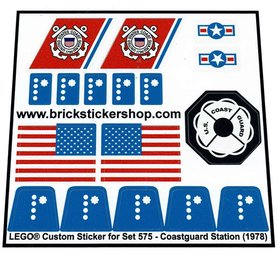 Precut Custom Replacement Stickers for Lego Set 575 - Coastguard Station (1978)