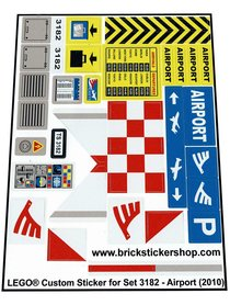 Precut Custom Replacement Stickers for Lego Set 3182 - Airport (2010)