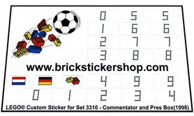 Precut Custom Replacement Stickers for Lego Set 3310 - Commentator and Press Box (1998)