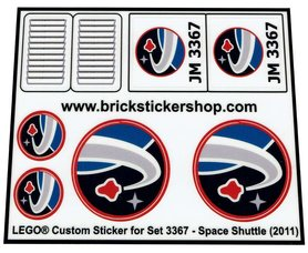 Precut Custom Replacement Stickers for Lego Set 3367 - Space Shuttle (2011)