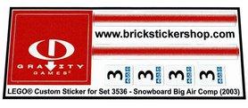 Precut Custom Replacement Stickers for Lego Set 3536 - Snowboard Big Air Comp (2003)