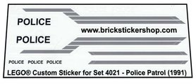 Precut Custom Replacement Stickers for Lego Set 4021 - Police Patrol (1991)