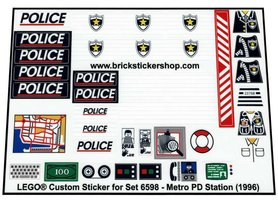 Precut Custom Replacement Stickers for Lego Set 6598 - Metro PD Station (1996)