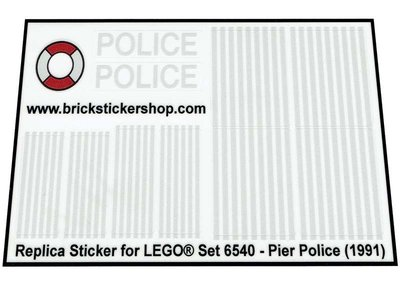 Precut Replica Sticker for Lego Set 6540 - Pier Police (1991)