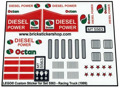 Precut Replica Sticker for Lego Set 5563 - Racing Truck (1999)