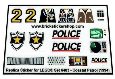 Precut Custom Replacement Stickers for Lego Set 6483 - Coastal patrol (1994)