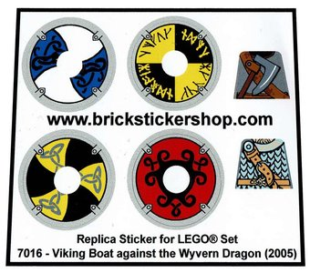 Precut Custom Replacement Stickers for Lego Set 7016 - Viking Boat against the Wyvern Dragon (2005)