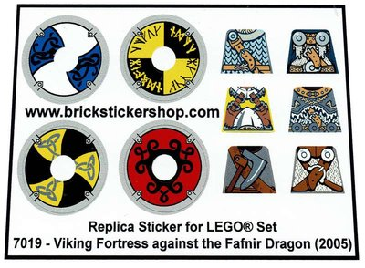 Precut Custom Replacement Stickers for Lego Set 7019 - Viking Fortress against the Fafnir Dragon (2005)