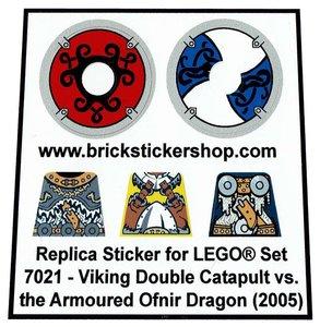 Precut Custom Replacement Stickers for Lego Set 7021 - Viking Double Catapult vs Armoured Ofnir Dragon (2005)